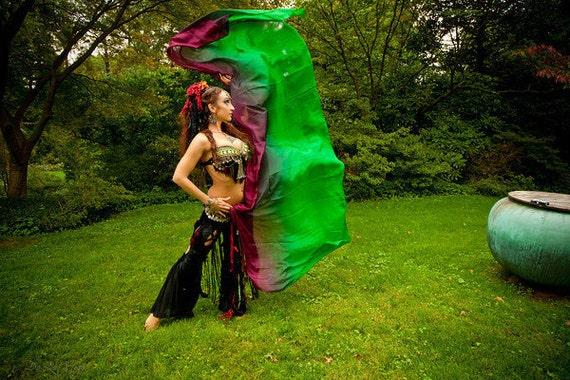Rectangular circle belly dance silk veil Shushanna design 3 1/2 yard -