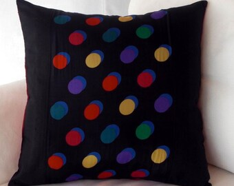 Black Silk Dupoini And Black Polka Dot Scarf Pillow Cover For Your Contemporary Home 17 Inch Pillow Cover