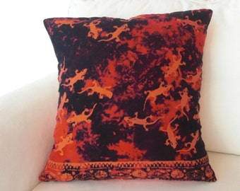 Pillow Cover Made from Rayon In Shades of Orange And Black With Geco Design