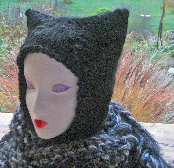 Handknit Kitty Cat Ear Black Hat In A Very Soft And Chunky Yarn That Covers Your Ears And