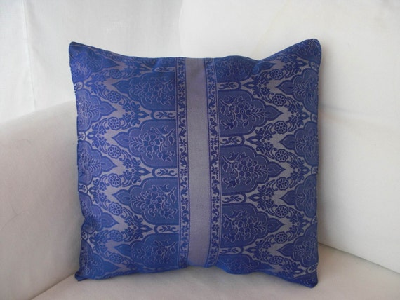 Ooak Handsewn 13 Inch Pillow Cover In Shades of Cobalt Blue And Silver Created From Sari Fabric