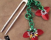 orchids and vines--red steampunk flower hair fork