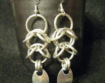 silver scaled shaggy drops earrings