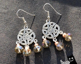 Celtic Sparkles -- Smoky Clear and Copper Sparkly Beaded Earrings