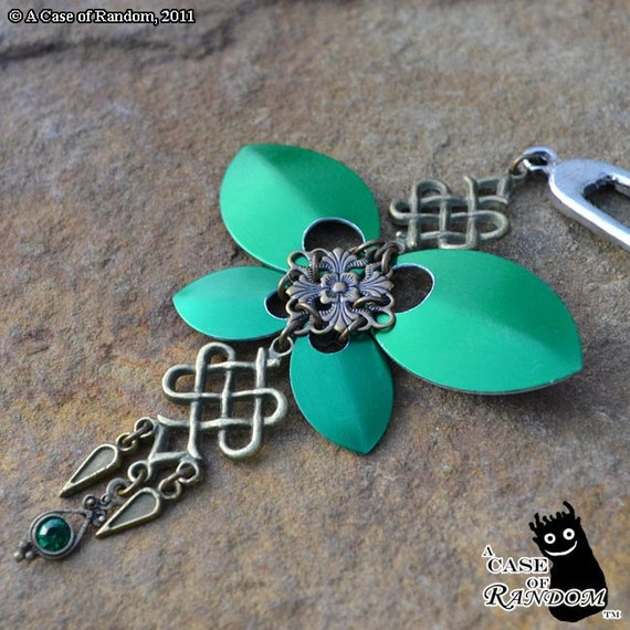 Steel Butterfly--Celtic-flavored green and brass super fancy hair fork