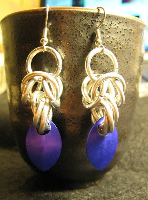 purple dragon maille and scales earrings