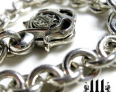 Silver Mens Bracelet, Custom Biker Jewelry, Kings Crown Heavy Sterling Links