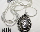 Haunted Victorian Cameo Necklace Silver Ghost Pendant Gothic One Of A Kind!