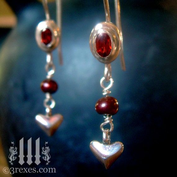 Silver Heart Earrings Garnet Stones Red Pearls Tiny Charms