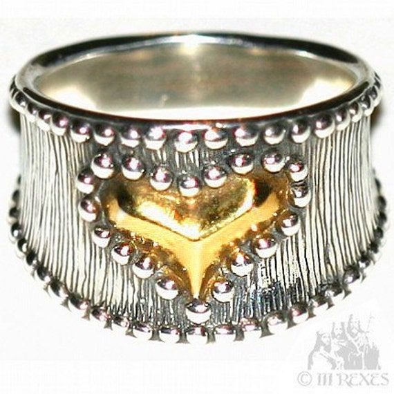 MEDIEVAL STUDDED HEART RING 925 Sterling Silver and 22 kt Gold