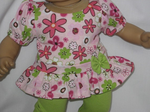 American Girl Doll Clothes - Pink Flower Tunic with Leggings for Bitty Baby