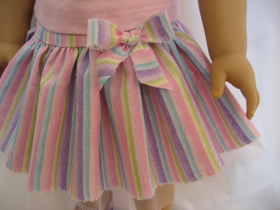 American GIrl Doll Clothes - Glittery Stripe Gathered Skirt
