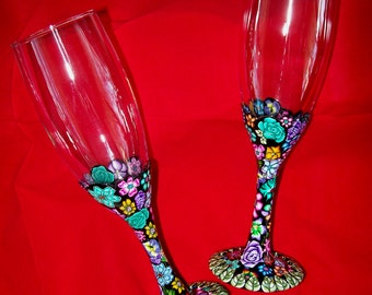 Glass set of 2 champagne or wine flutes in Millefiori polymer clay design nbr1