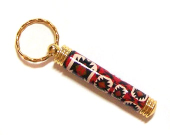 Key ring with secret compartment gold plated Indian Eye Dazzler polymer clay design nbr55