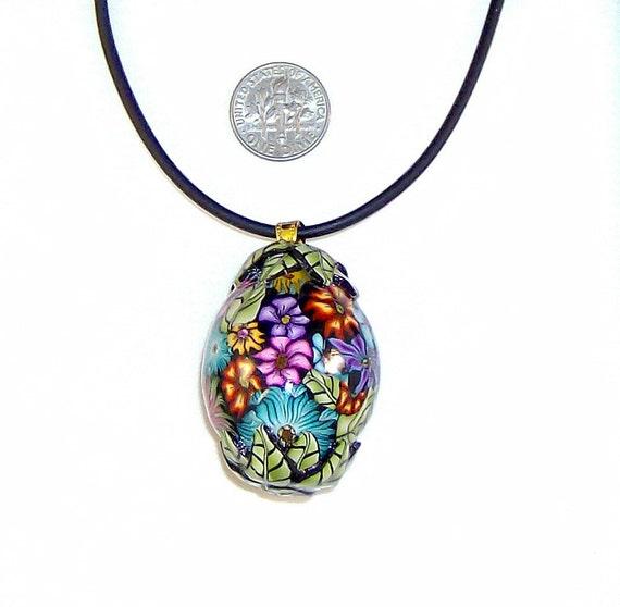 C Harm Millefiori Polymer Clay Large Focal Bead Pendant Necklace nbr5