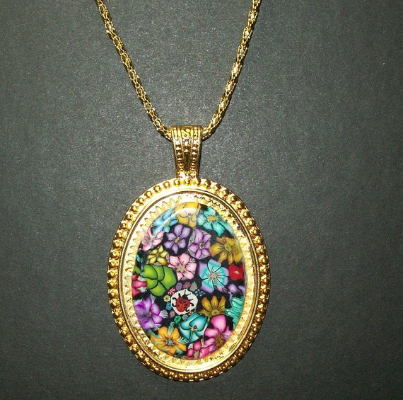 Millefiori Gold plate polymer clay clay Signed pendant necklace with 24 inch chain nbr1