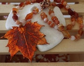 Real Leaf n Carnelian Copper Necklace
