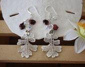 Silver Oak Leaf Earrings, Real Leaf n Pearl n Crystals Sterling Silver Earrings