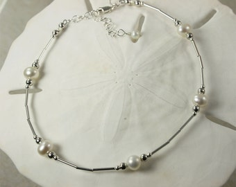 Pearl and Sterling Silver Adjustable Anklet