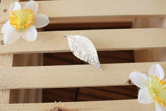 Real Evergreen Leaf Sterling Silver Brooch n Pendant