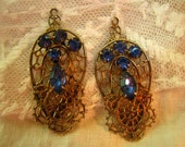 Pair of vintage findings for earrings with blue rhinestones