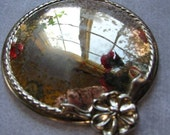 Small Vintage Hand or Purse Mirror with Bow Accent