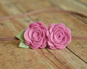 Baby Headband - Wool Felt Flower -  Rose Duo in Pink Violet - For Newborn, Child or Adults
