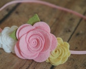 Girls Flower Headband - Trio of Roses - Pink, White and Yellow - Felt Flower Headband For Newborn to Adult Baby, Infant