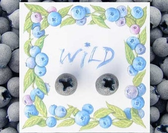 Handsculpted Wild Blueberry Earrings