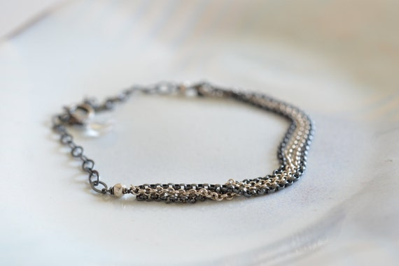 Minimalist Industrial Black and White Sterling Silver Chain Bracelet