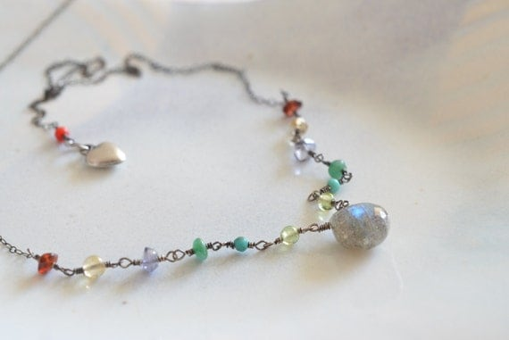One of a Kind Whimsical Labradorite & Multi Stone Heart Charm Sterling Silver Necklace