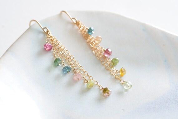 Multicolor Indian Tourmaline Cascade Gold Earrings