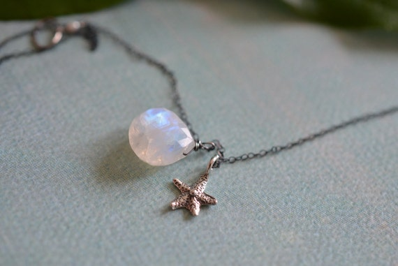 Dreamy Moonstone & Starfish Charm Oxidized Sterling Silver Necklace