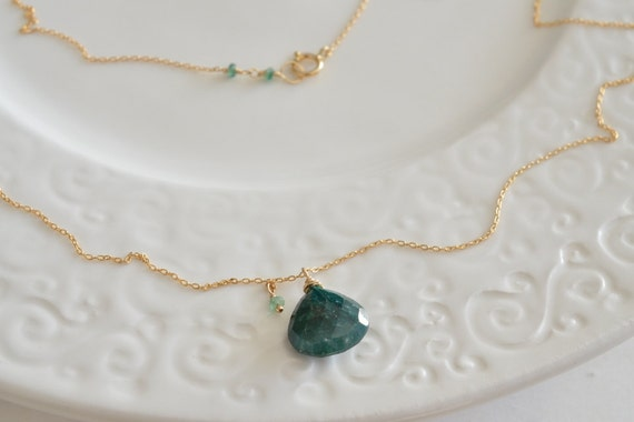 Minimalist Emerald Gold Necklace