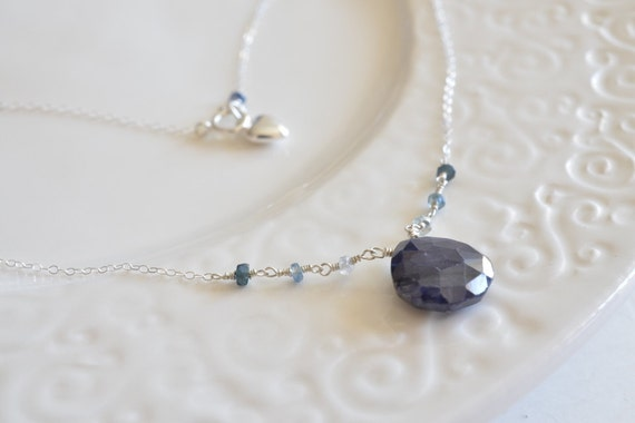 Blue Sapphire & Heart Charm Shiny Sterling Silver Necklace