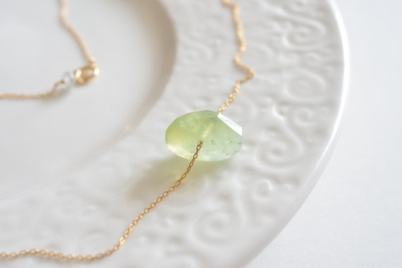 Minimalist Pale Green Prehnite Sliding Gold Handcrafted Gemstone Necklace