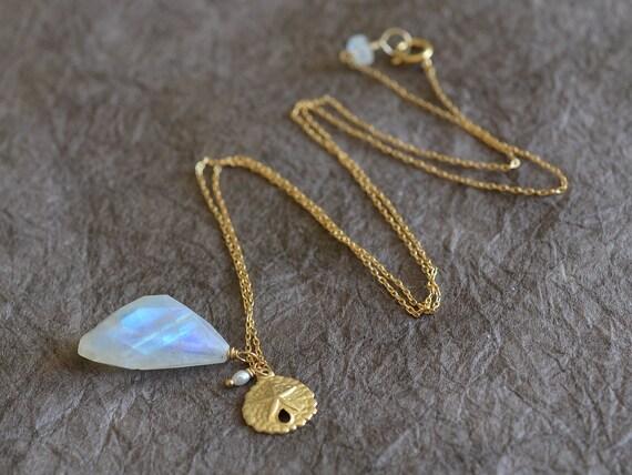 Dreamy Beachy Rainbow Moonstone & Gold Sand Dollar Charm Necklace