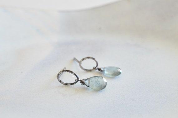 Dreamy Moss Aquamarine Oxidized Sterling Silver Post Earrings