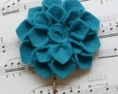 1 Mini Aqua Felt Dahlia Flower Bobby Pin