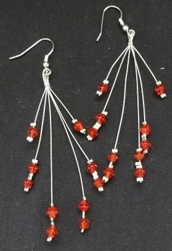 Red Starburst Glass Earrings