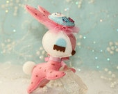 RESERVED for -marismg- Matryoshka Glamour - Sleepy Baby Bunny Plush - Dotty Pink
