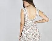 Vintage 70's Floral Open Back Sleeveless Dress