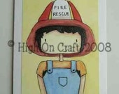 Reserved for Whatsfordessert -Little Boy Firefighter  - Blank Note Card Greeting Card