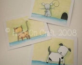 Cute Little Pets - Blank Note Card Greeting Card Set of 3