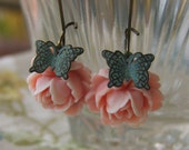 Butterflies and Roses Antiqued Dangle Earrings