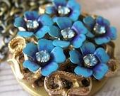 Forget Me Not Estate Vintage Brooch Locket Necklace by SSSJ on Etsy