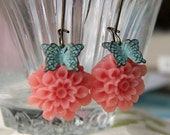 Dancing Butterflies, Romantic Coral Flower Earrings