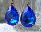 Sparkly Sapphire Blue Vintage Jewel Earrings, Rustic, Country, Outdoors, Vintage Wedding Earrings