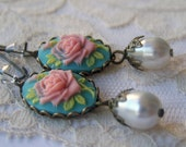 All ITEMS 10.00 Rose Cameo Earrings, dangling antiqued, summer romance, victorian