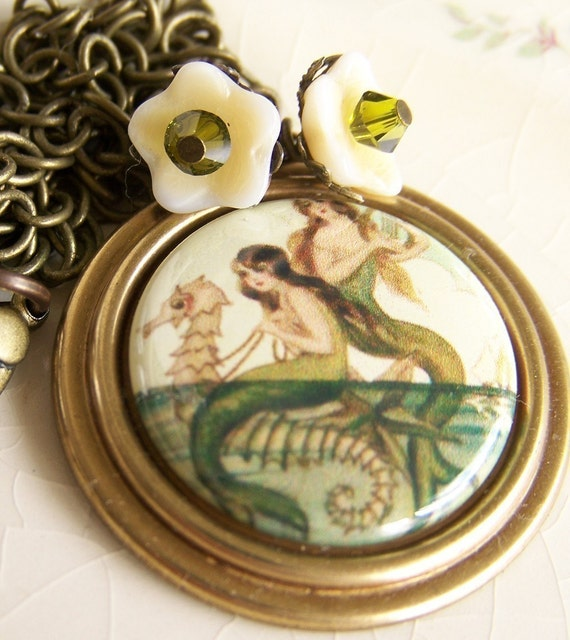 Mermaids Siren and  the Seahorse, Vintage style, Handmade Necklace
